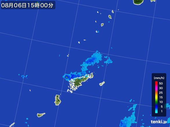 奄美諸島(鹿児島県)の雨雲レーダー(2016年08月06日)