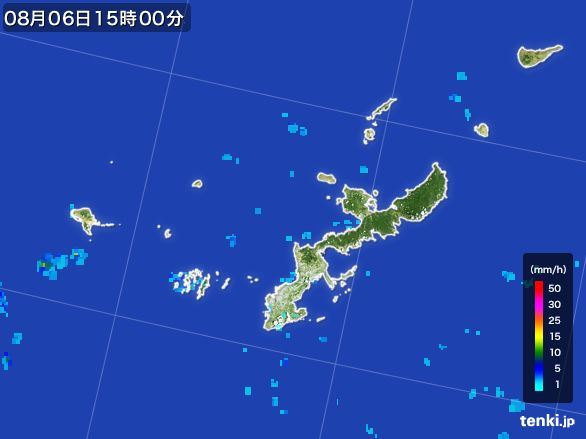 沖縄県の雨雲レーダー(2016年08月06日)