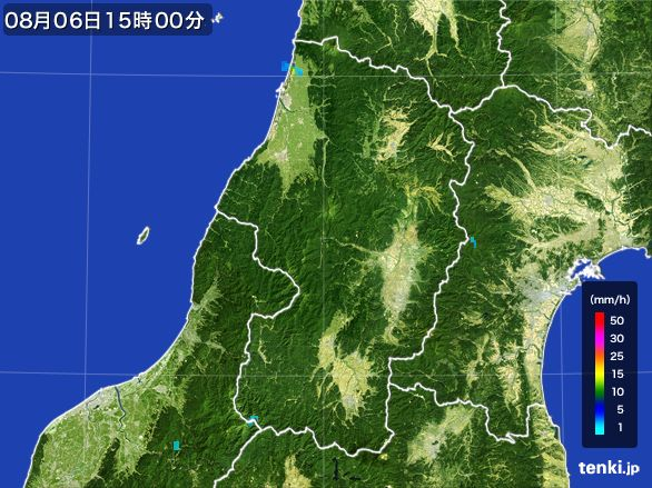 山形県の雨雲レーダー(2016年08月06日)