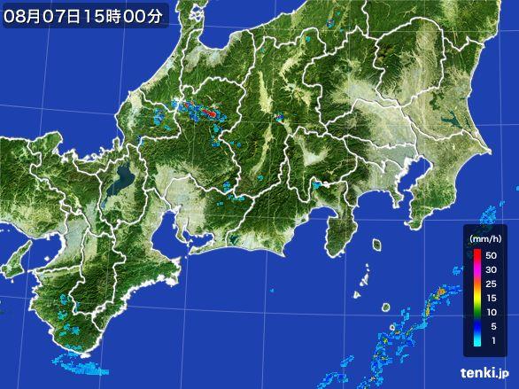 東海地方の雨雲レーダー(2016年08月07日)