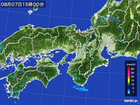 近畿地方の雨雲レーダー(2016年08月07日)