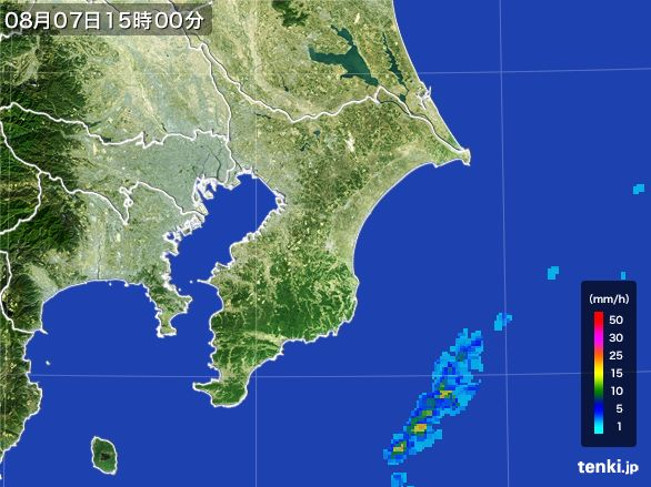 千葉県の雨雲レーダー(2016年08月07日)