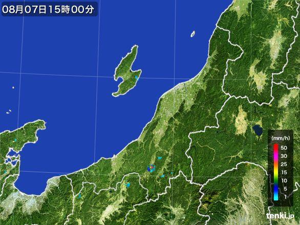 新潟県の雨雲レーダー(2016年08月07日)