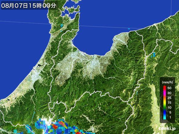 富山県の雨雲レーダー(2016年08月07日)