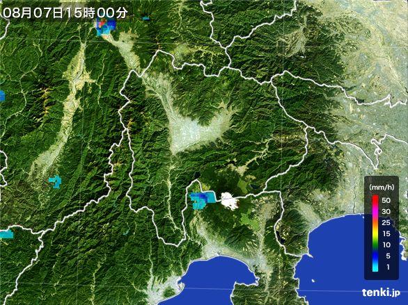 山梨県の雨雲レーダー(2016年08月07日)