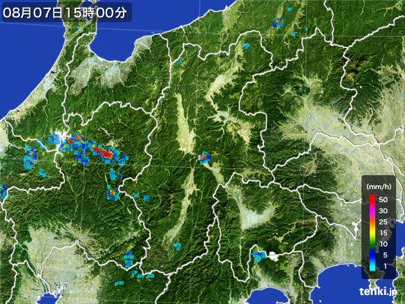 長野県の雨雲レーダー(2016年08月07日)