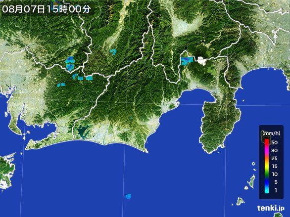 静岡県の雨雲レーダー(2016年08月07日)