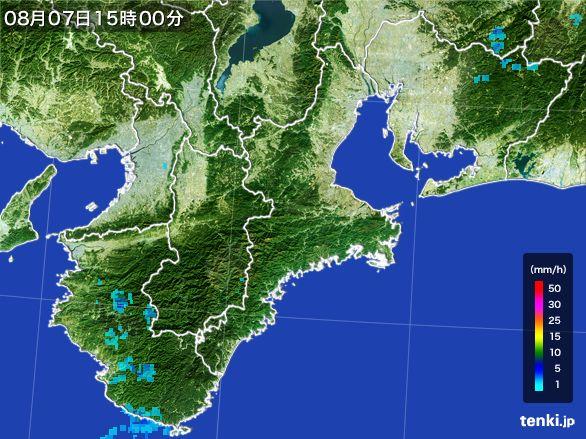 三重県の雨雲レーダー(2016年08月07日)