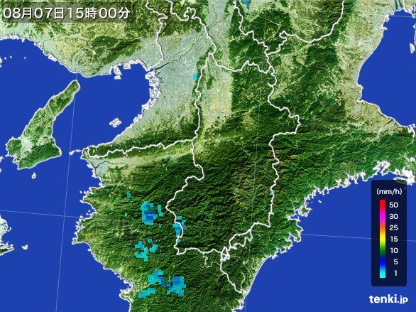 奈良県の雨雲レーダー(2016年08月07日)
