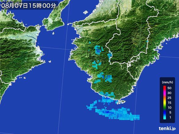 和歌山県の雨雲レーダー(2016年08月07日)