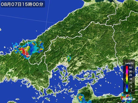 広島県の雨雲レーダー(2016年08月07日)