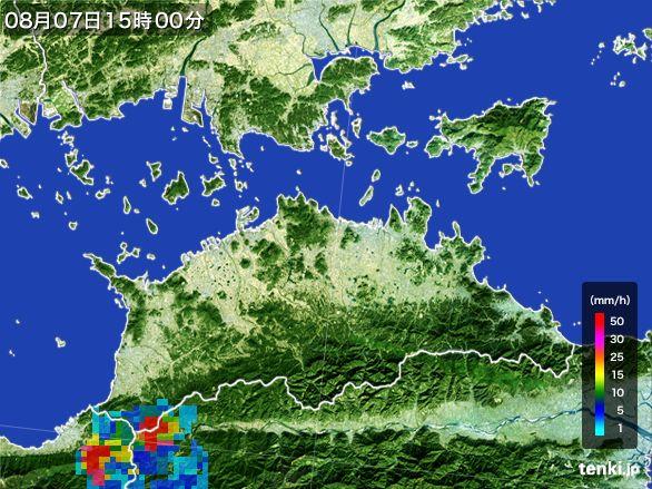 香川県の雨雲レーダー(2016年08月07日)