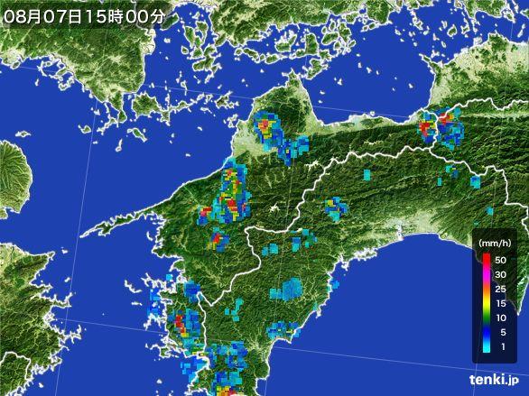 愛媛県の雨雲レーダー(2016年08月07日)