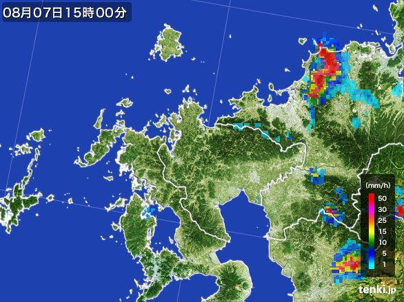 佐賀県の雨雲レーダー(2016年08月07日)