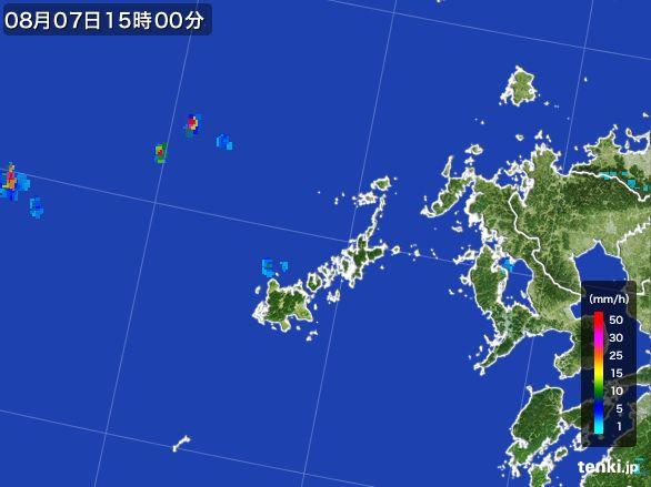 五島列島(長崎県)の雨雲レーダー(2016年08月07日)