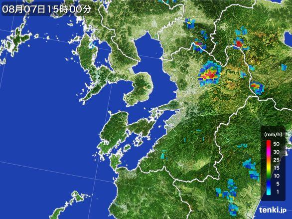 熊本県の雨雲レーダー(2016年08月07日)