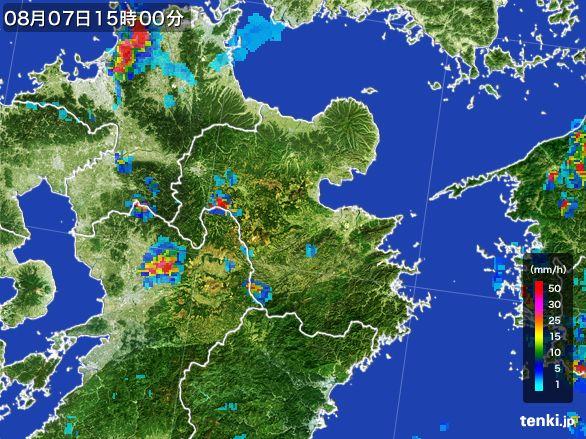 大分県の雨雲レーダー(2016年08月07日)