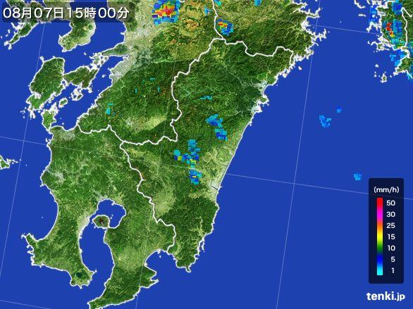 宮崎県の雨雲レーダー(2016年08月07日)