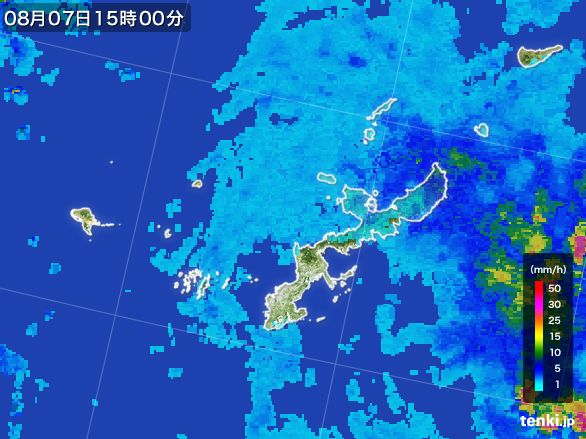 沖縄県の雨雲レーダー(2016年08月07日)
