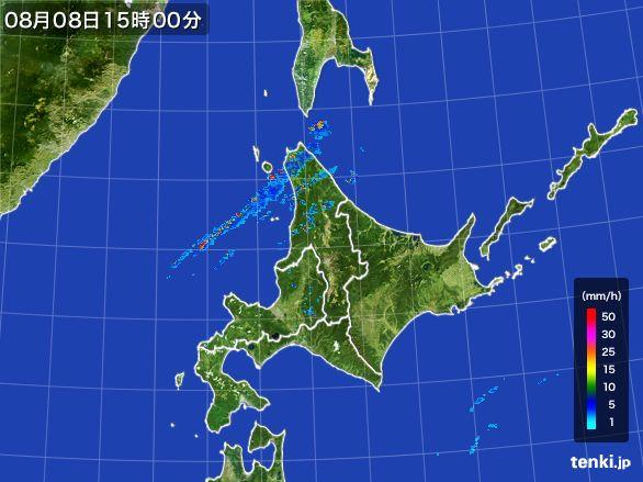 北海道地方の雨雲レーダー(2016年08月08日)