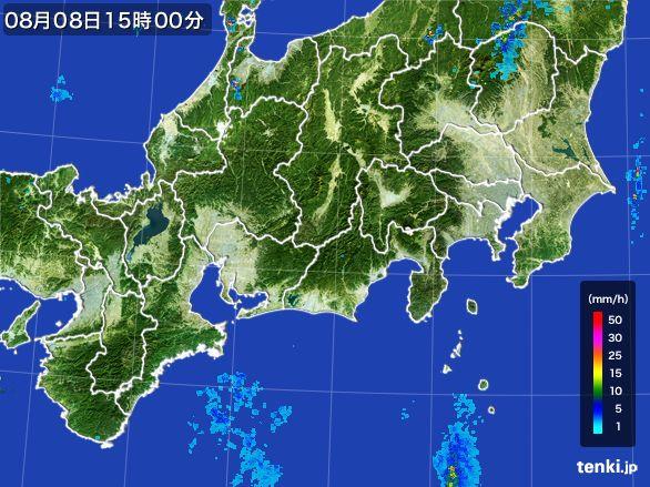 東海地方の雨雲レーダー(2016年08月08日)
