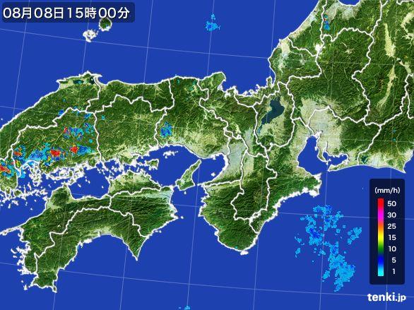 近畿地方の雨雲レーダー(2016年08月08日)