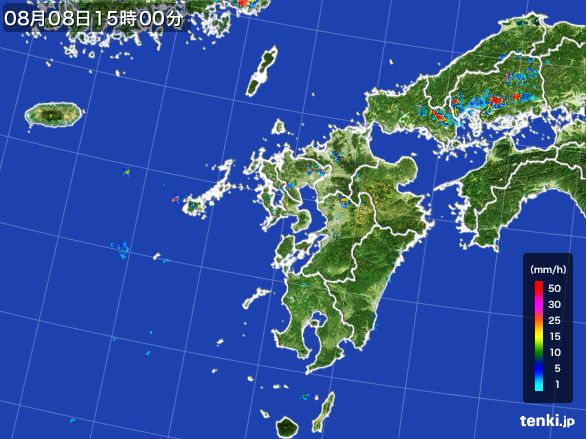 九州地方の雨雲レーダー(2016年08月08日)