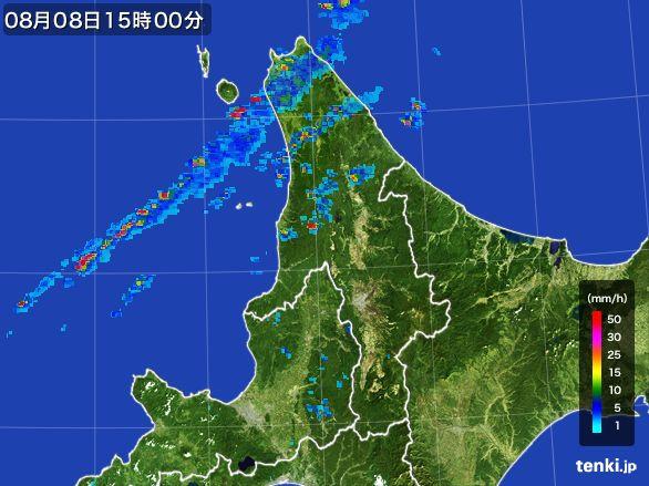 道北の雨雲レーダー(2016年08月08日)