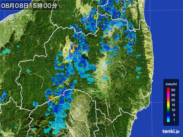 福島県の雨雲レーダー(2016年08月08日)