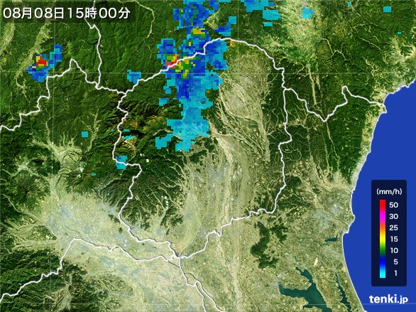 栃木県の雨雲レーダー(2016年08月08日)
