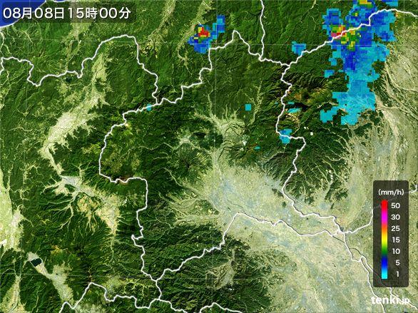 群馬県の雨雲レーダー(2016年08月08日)
