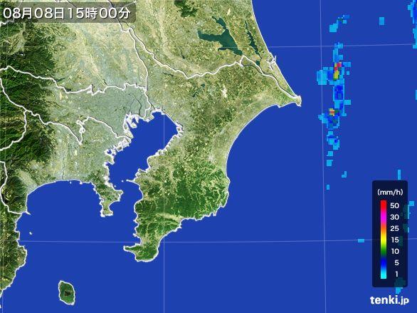 千葉県の雨雲レーダー(2016年08月08日)