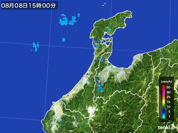 石川県の雨雲レーダー(2016年08月08日)