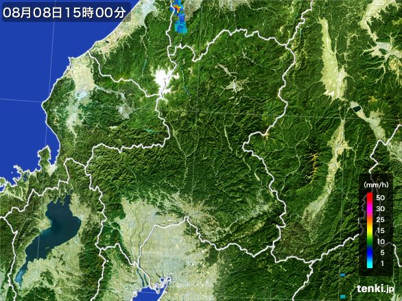 岐阜県の雨雲レーダー(2016年08月08日)