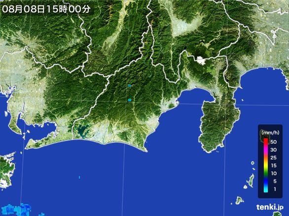 静岡県の雨雲レーダー(2016年08月08日)
