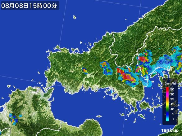 山口県の雨雲レーダー(2016年08月08日)