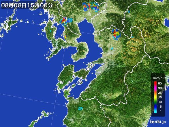 熊本県の雨雲レーダー(2016年08月08日)