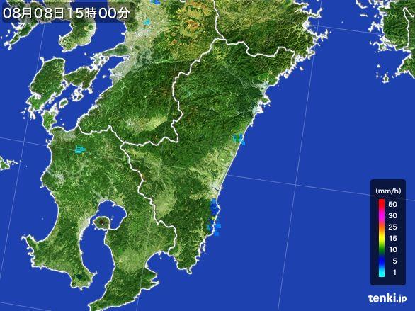 宮崎県の雨雲レーダー(2016年08月08日)