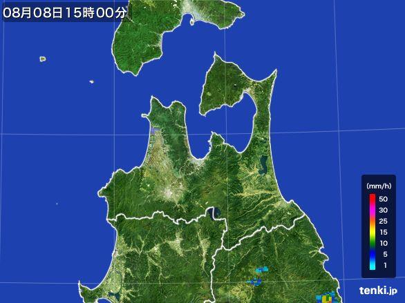 青森県の雨雲レーダー(2016年08月08日)