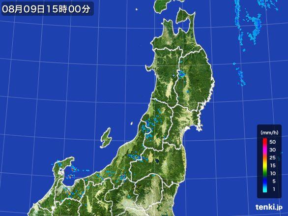 東北地方の雨雲レーダー(2016年08月09日)