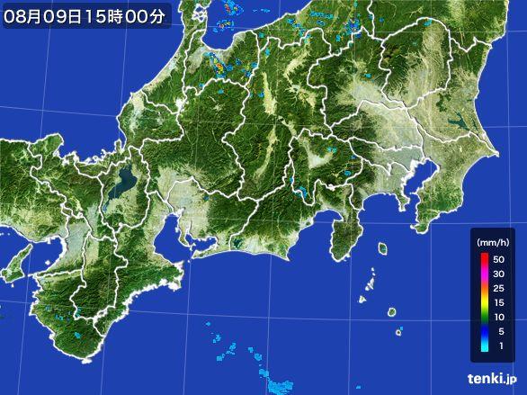 東海地方の雨雲レーダー(2016年08月09日)