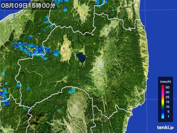 福島県の雨雲レーダー(2016年08月09日)
