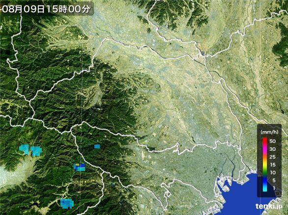 埼玉県の雨雲レーダー(2016年08月09日)