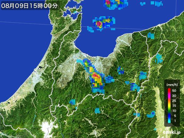 富山県の雨雲レーダー(2016年08月09日)