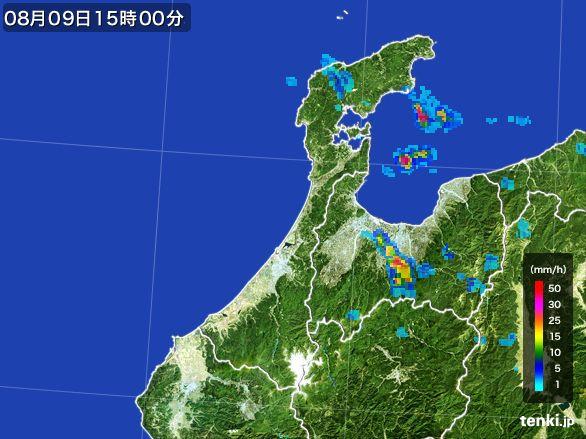 石川県の雨雲レーダー(2016年08月09日)