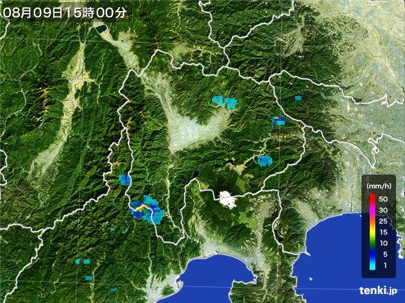 山梨県の雨雲レーダー(2016年08月09日)