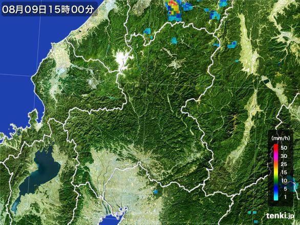 岐阜県の雨雲レーダー(2016年08月09日)
