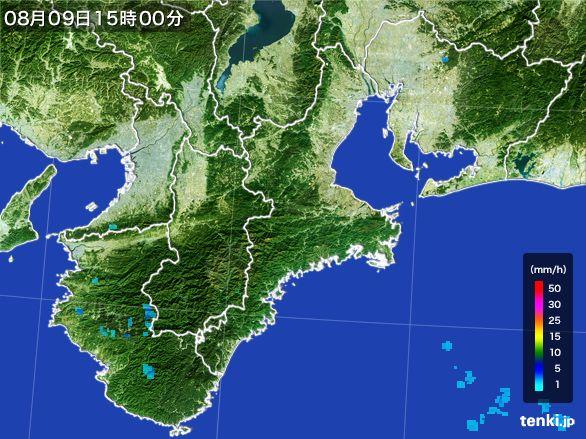 三重県の雨雲レーダー(2016年08月09日)