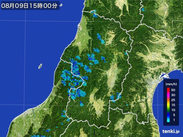 山形県の雨雲レーダー(2016年08月09日)