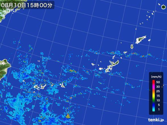 沖縄地方の雨雲の動き(2016年08月10日)